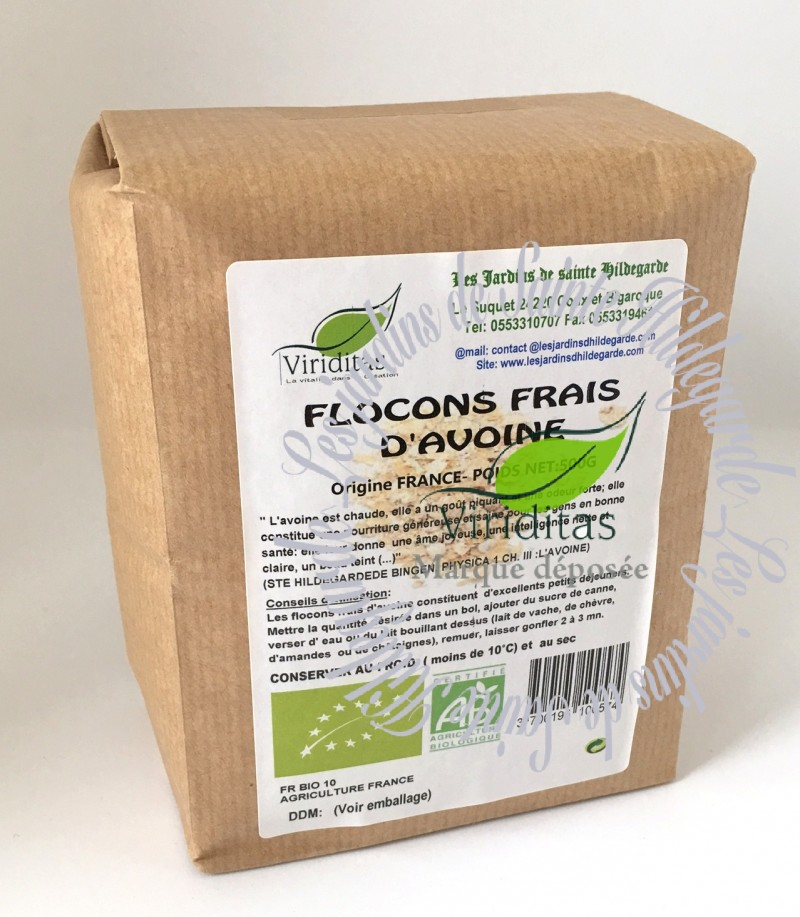 Flocons d'avoine bio. Paquet 500g.